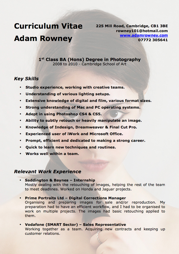 proffesional framworks 2 cvs examplies - Photography Resume Samples